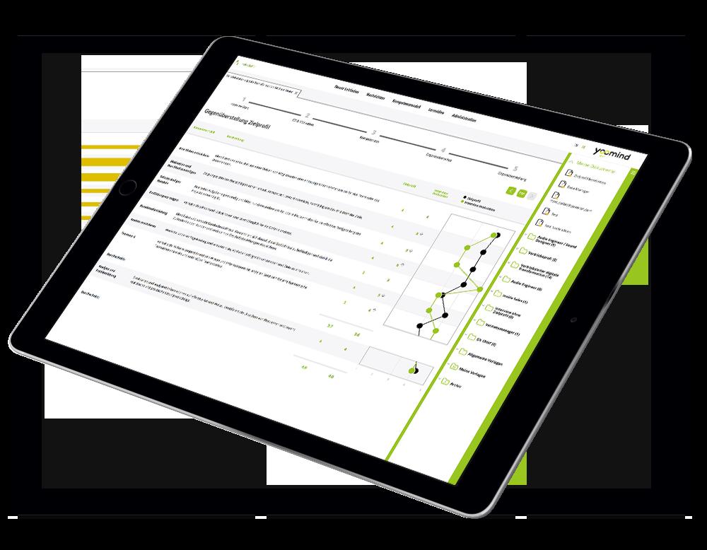 yoomind Spot Anwendung auf einem iPad Screen